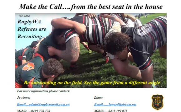 RugbyWA Referee's Association are recruiting