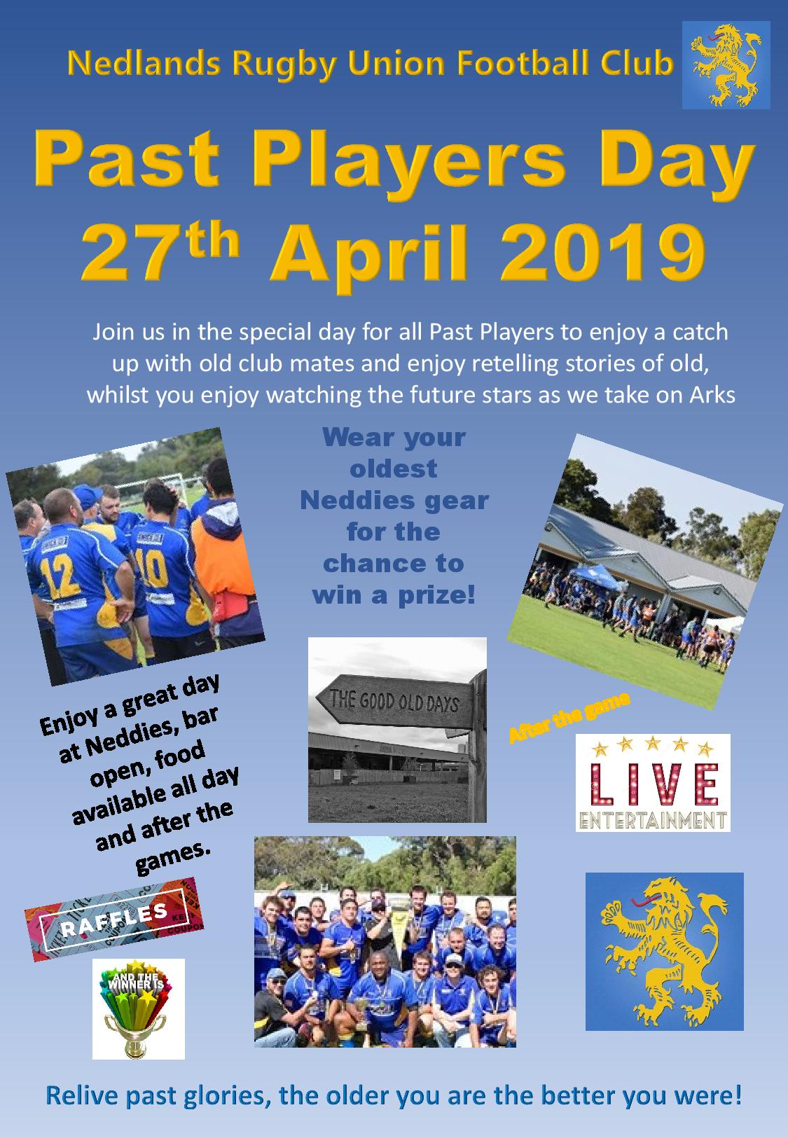 Past Players Day – 27 April 2019 and Upcoming Events