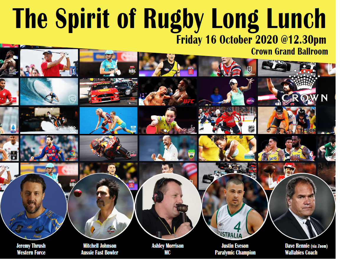 Spirit of Rugby Long Lunch – 16 October 2020